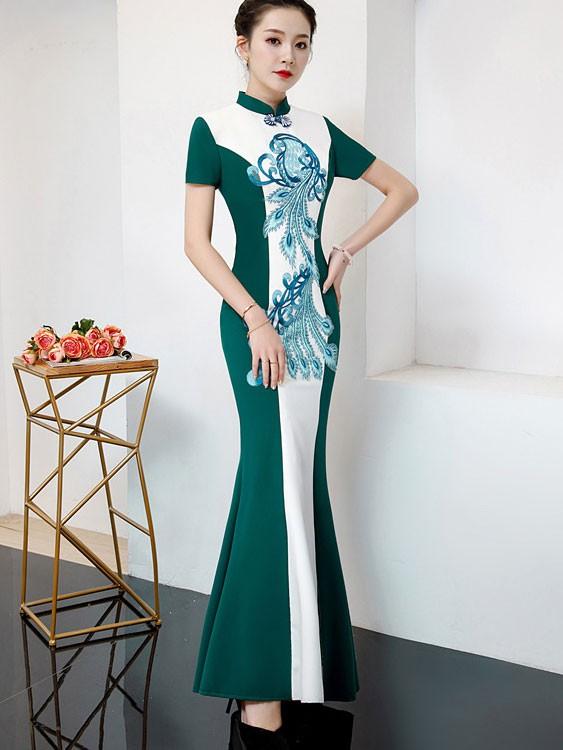 Color Blocking Fishtail Qipao / Cheongsam Prom Dress