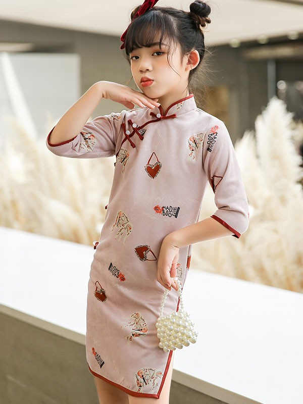 Spring Elephant Print Kids Girl's Cheongsam / Qipao Dress