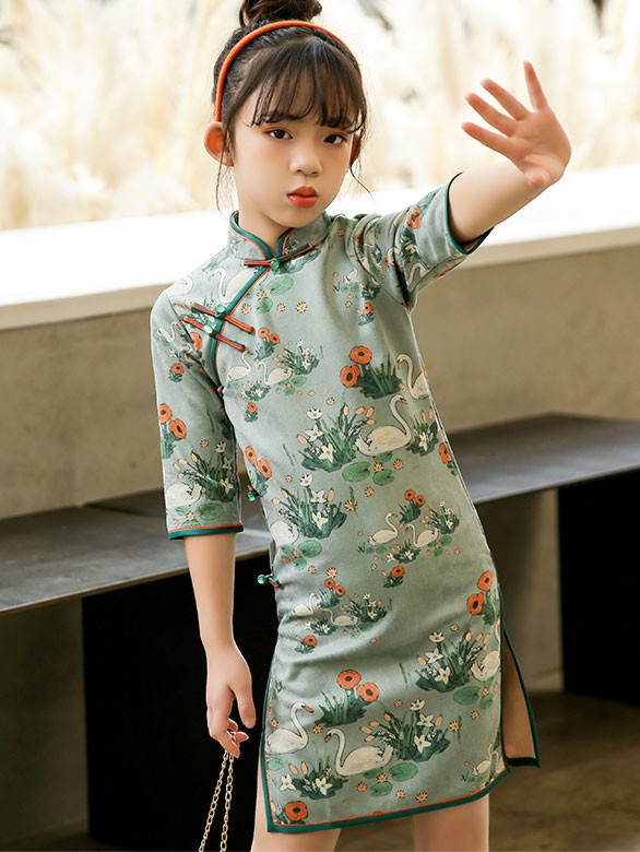 Spring Swan Print Kids Girl's Cheongsam / Qipao Dress