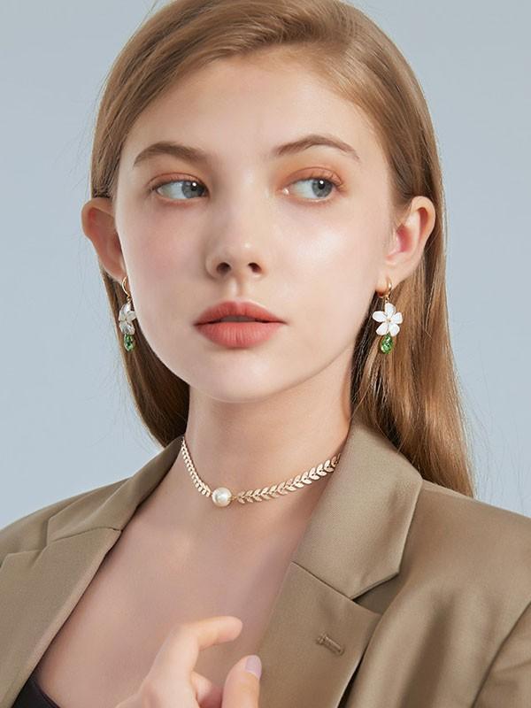 Petals Green Crystal Drop Dangle Earrings