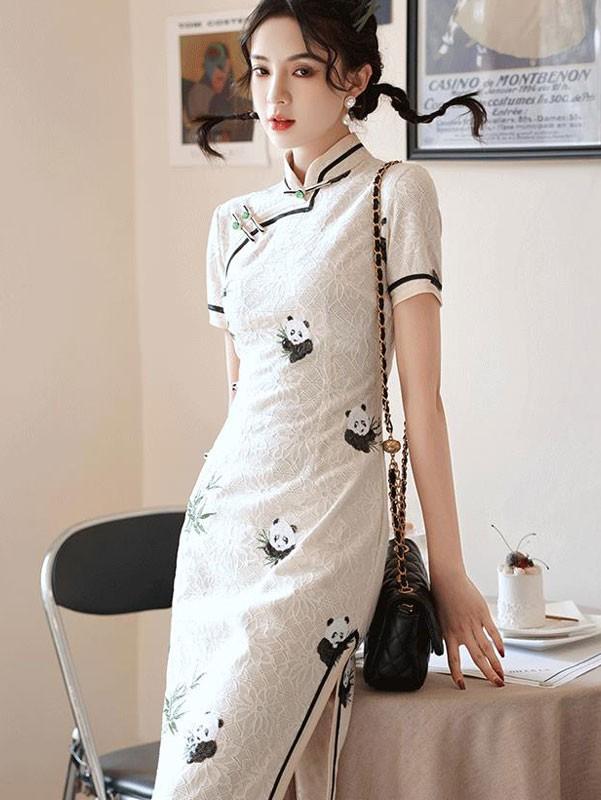 White Lace Embroidered Panda Qipao / Cheongsam Dress
