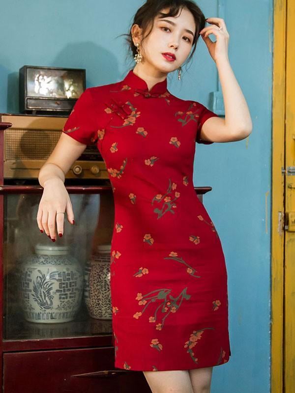 Green Floral Cheongsam / Chinese Qipao Dress