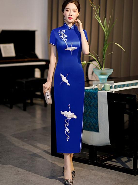Red Blue Embroidered Cranes Qipao / Cheongsam Dress
