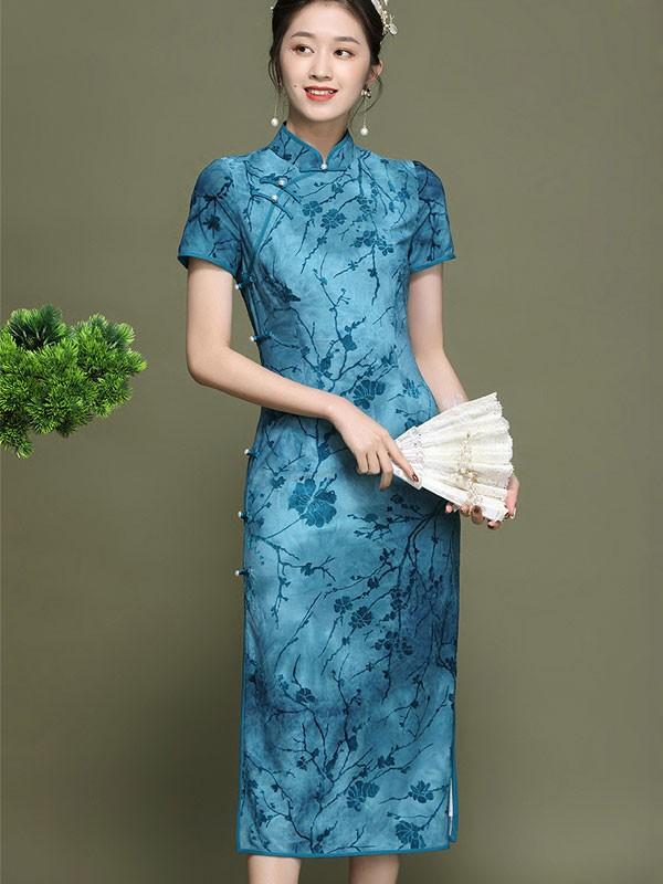 2021 Blue Floral Velvet Qipao / Cheongsam Dress
