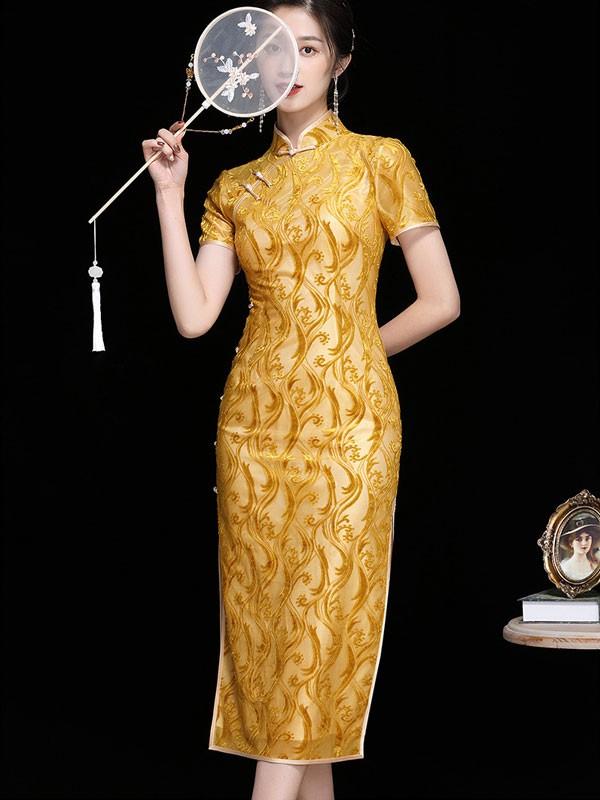 2021 Yellow Floral Velvet Qipao / Cheongsam Dress