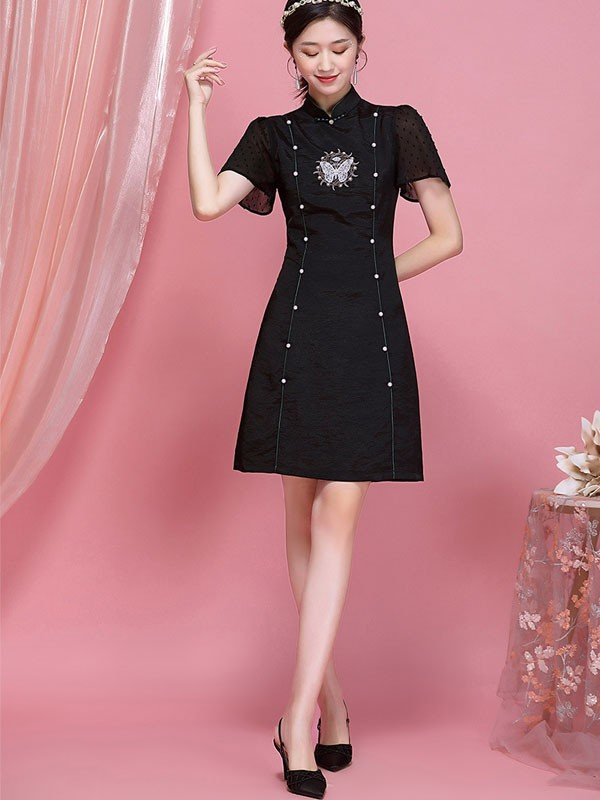 Embroidered Butterfly Black Chiffon Qipao / Cheongsam Dress
