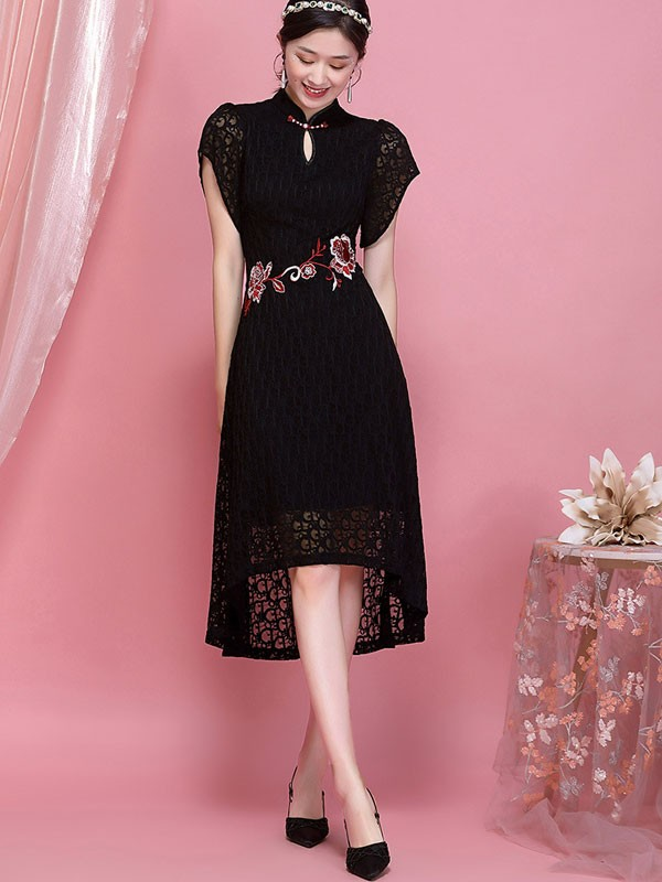 Black Embroidered Lace Qipao / Cheongsam Dress With High Low Hem