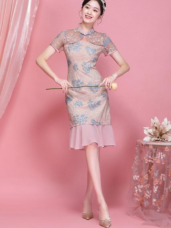 2021 Pink Lace Qipao / Cheongsam Dress with Frill Hem