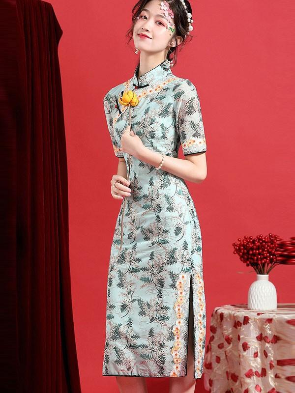 2021 Summer Green Floral Qipao / Cheongsam Dress