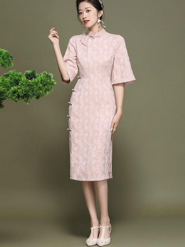 2021 Pink Jacquard Midi Qipao / Cheongsam Dress