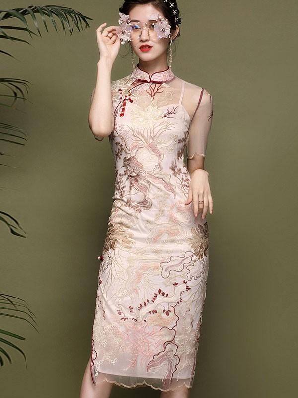 2021 Summer Pink Embroidered Qipao / Cheongsam Dress