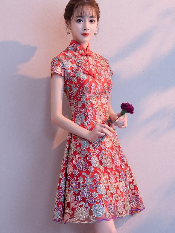 Red Floral A-Line Short Qipao / Cheongsam Party Dress