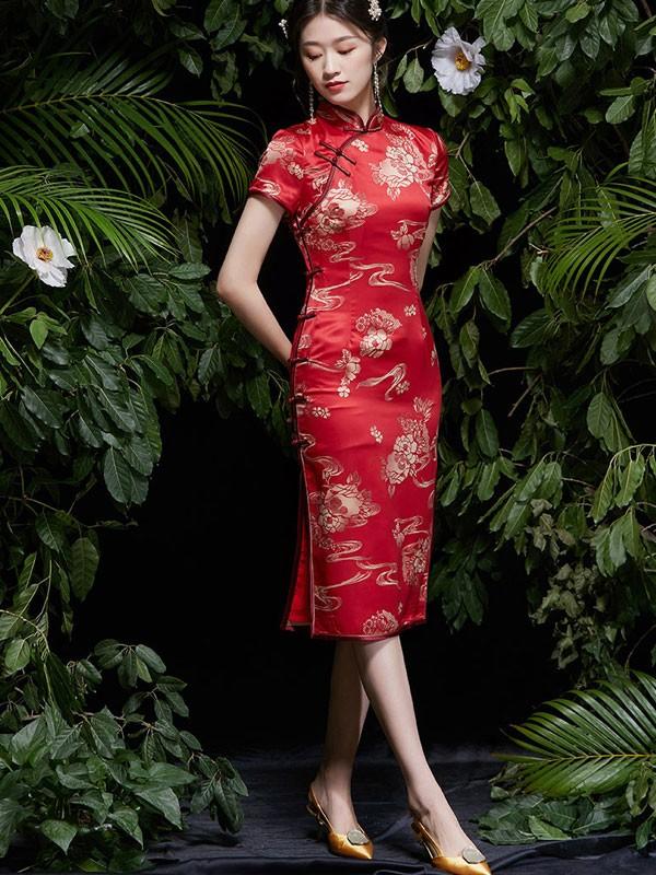 2021 Red Jacquard Midi Wedding Qipao / Cheongsam Dress