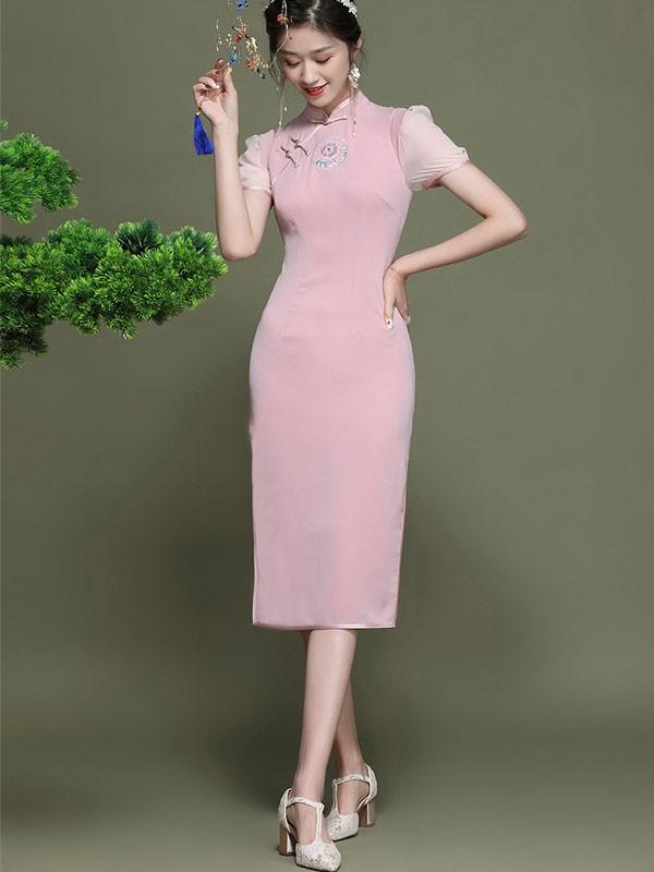 2021 Pink Embroidered Modern Qipao / Cheongsam Dress