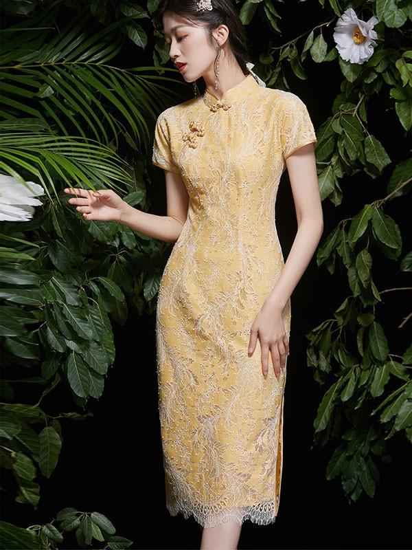 2021 Yellow Lace Modern Qipao / Cheongsam Dress