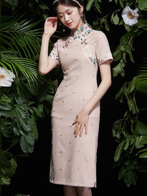 2021 Summer Embroidered Pink Qipao / Cheongsam Dress