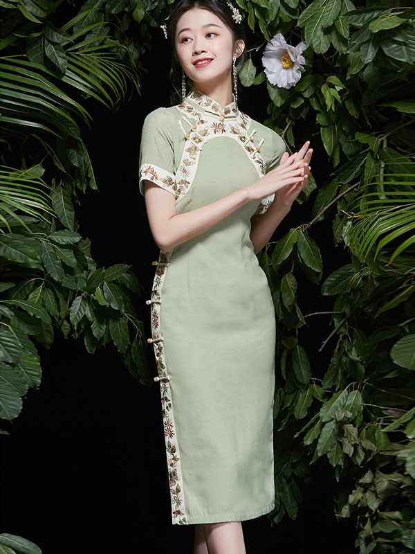 2021 Summer Green Embroidered Qipao / Cheongsam Dress