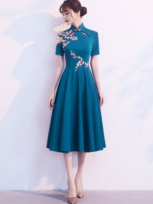 Blue A-Line Tea-Length Qipao / Cheongsam Party Dress
