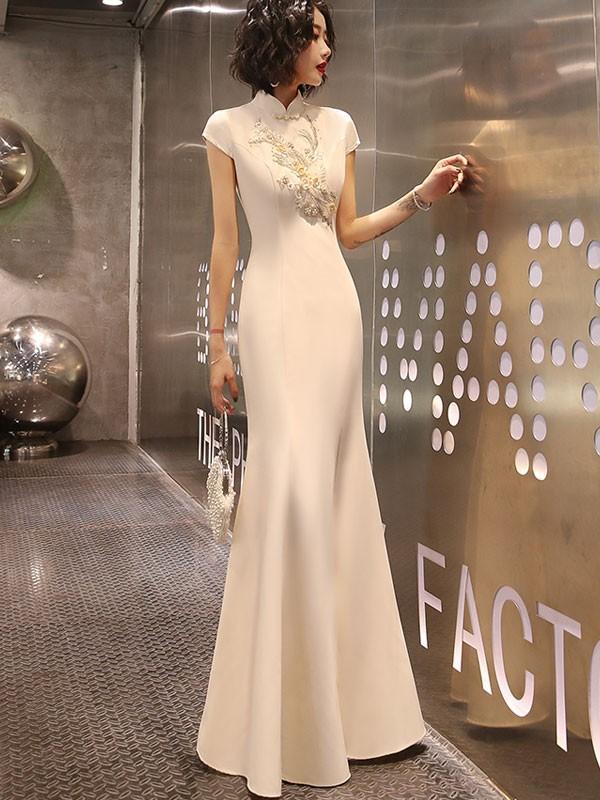 Champagne Split Front Fishtail Qipao / Cheongsam Party Dress