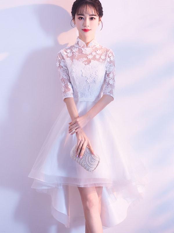 White High Low Hem Qipao / Cheongsam Bridesmaid Dress