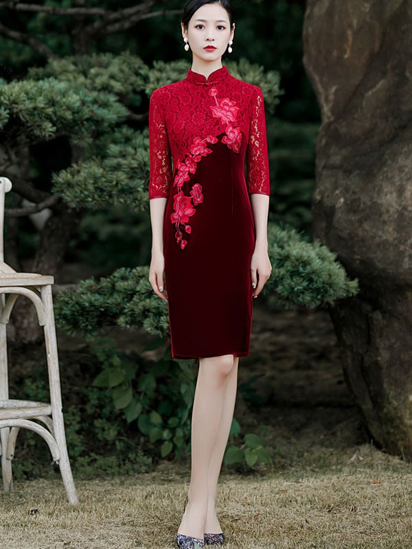Mother-of-the-Bride Embroidered Velour Qipao / Cheongsam Dress