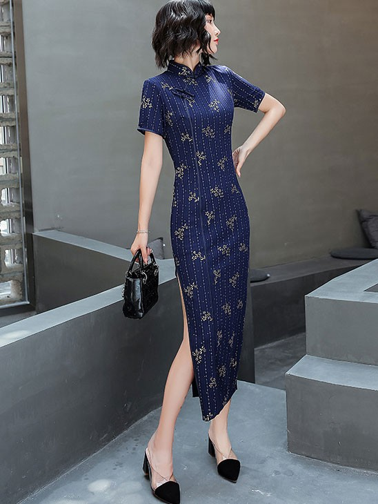 Red Blue Floral Ankle-Length Qipao / Cheongsam Dress