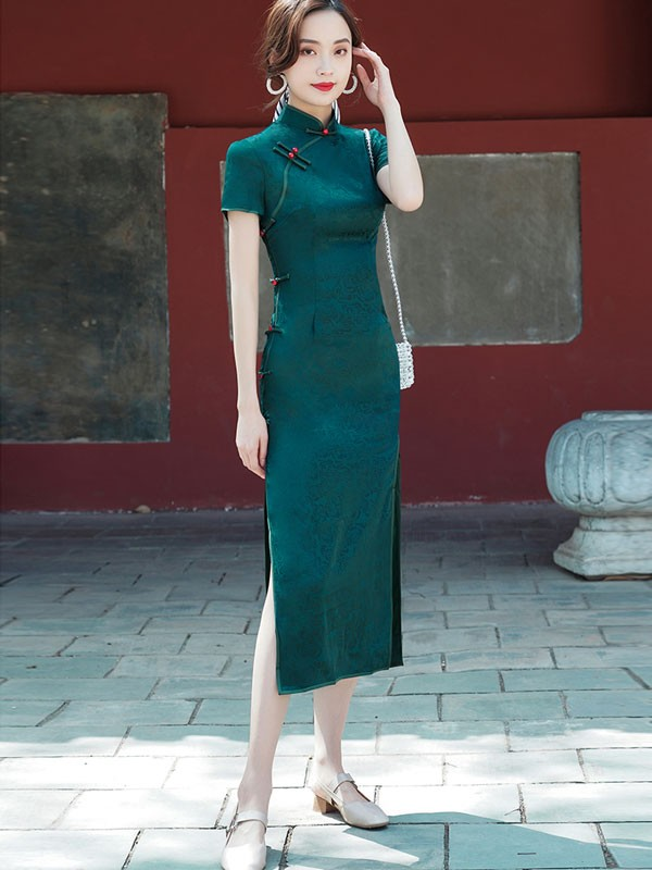 2021 Summer Green Jacquard Qipao / Cheongsam Dress