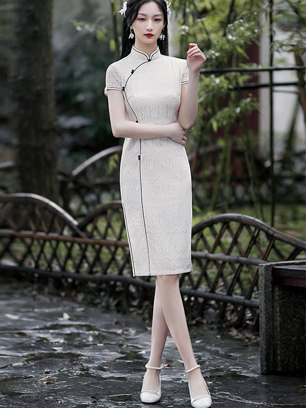 White Lace Short Qipao / Cheongsam Dress