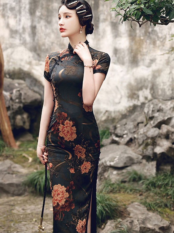 Mother's Floral Print Maxi Qipao / Cheongsam Dress