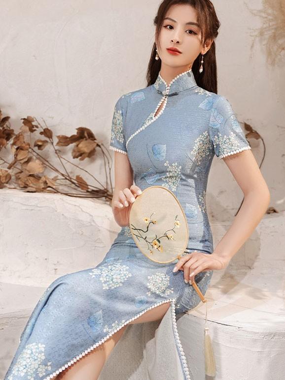 Blue Lace Ankle Length Qipao / Cheongsam Dress