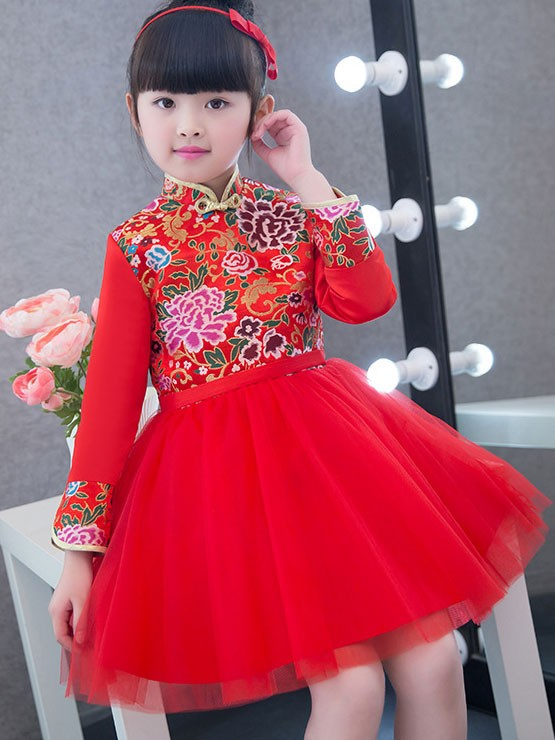 Kids Red Cheongsam / Qipao Dress with Tulle Skirt