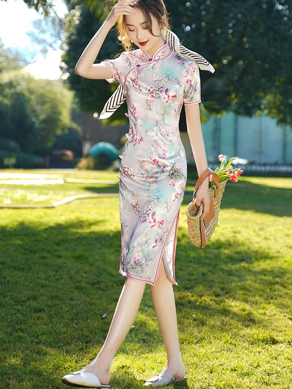 Pink Floral Print Mid Qipao / Cheongsam Dress