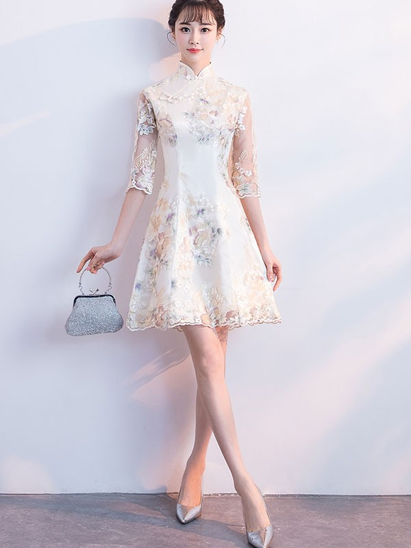 Beige Embroidered A-Line Qipao / Cheongsam Party Dress