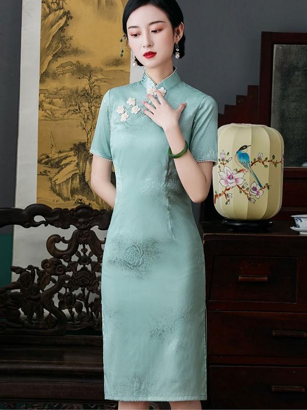 2021 Summer Green Jacquard Midi Cheongsam / Qipao Dress