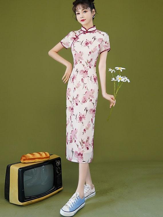 2021 Pink Floral Midi Cheongsam / Qipao Dress