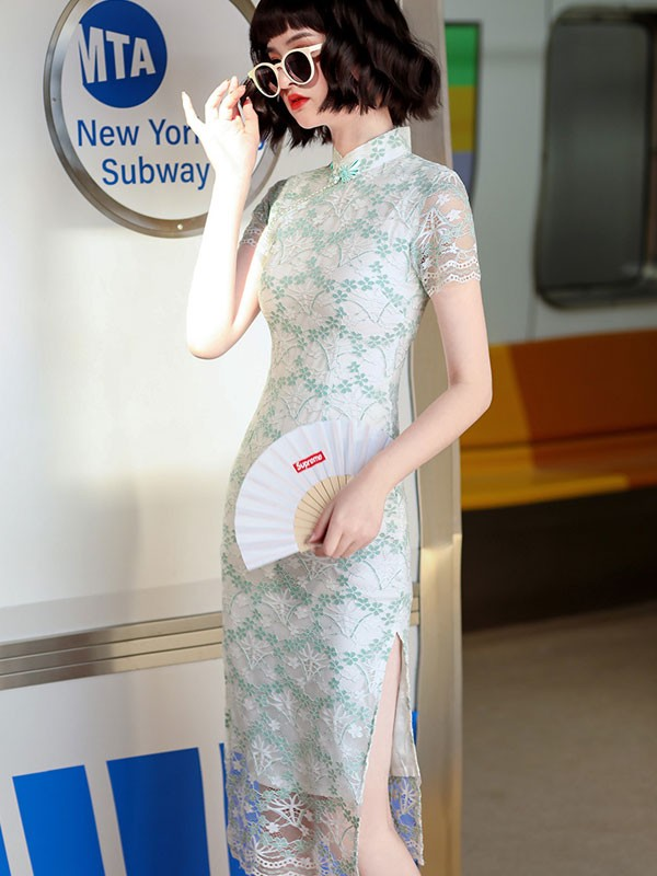 2021 Green Floral Lace Midi Cheongsam / Qipao Dress