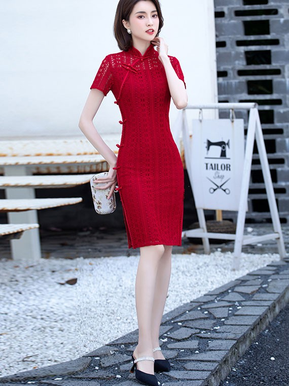 2021 Red Lace Illusion Qipao / Cheongsam Party Dress