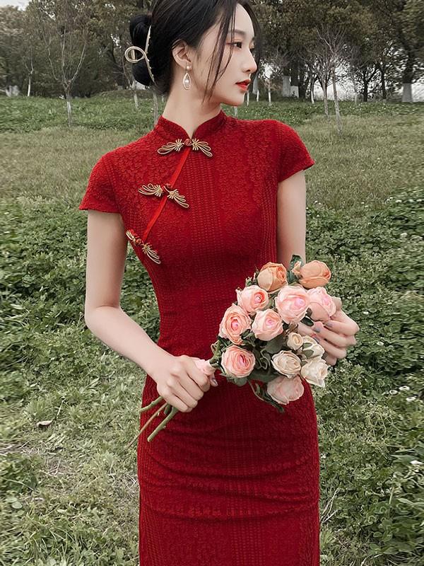 2021 Burgundy Lace Midi Qipao / Cheongsam Wedding Dress
