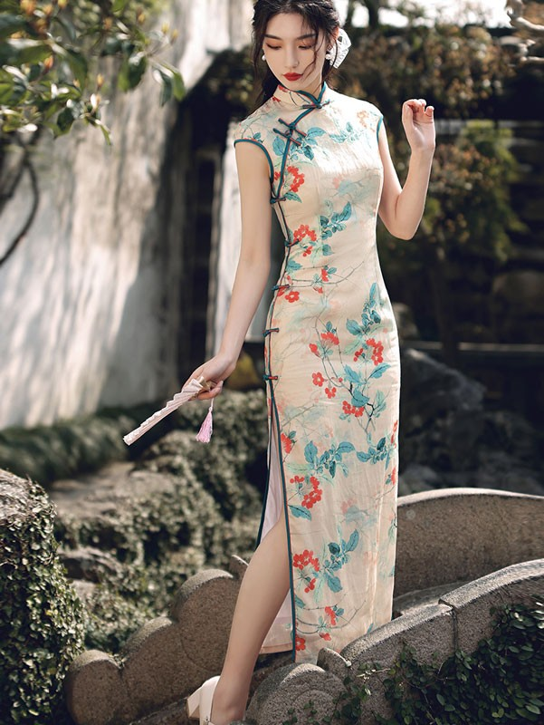 2021 Summer Floral Print Maxi Qipao / Cheongsam Dress