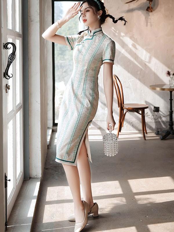 2021 Floral Lace Midi Qipao / Cheongsam Party Dress