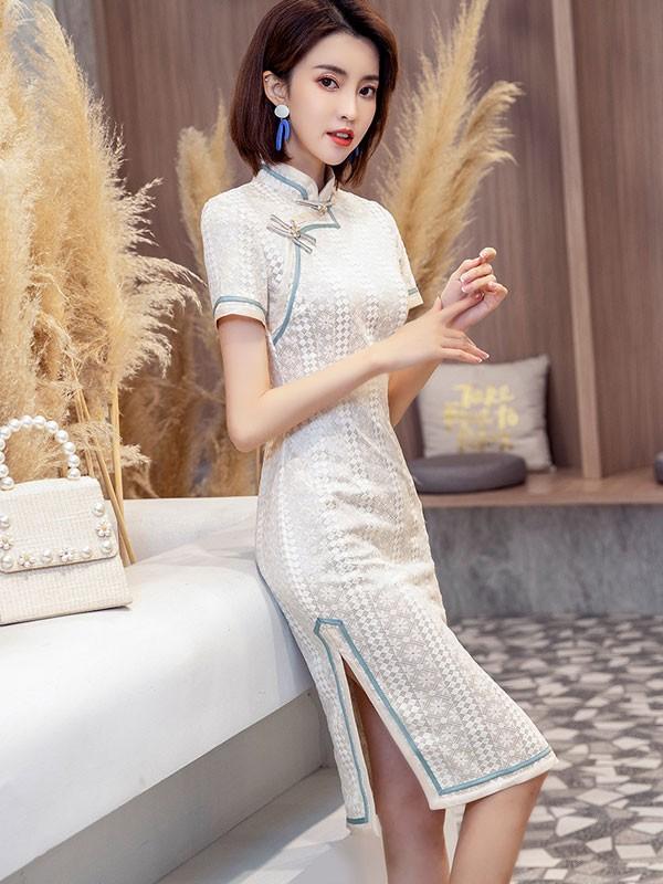 Beige Lace Midi Qipao / Cheongsam Party Dress