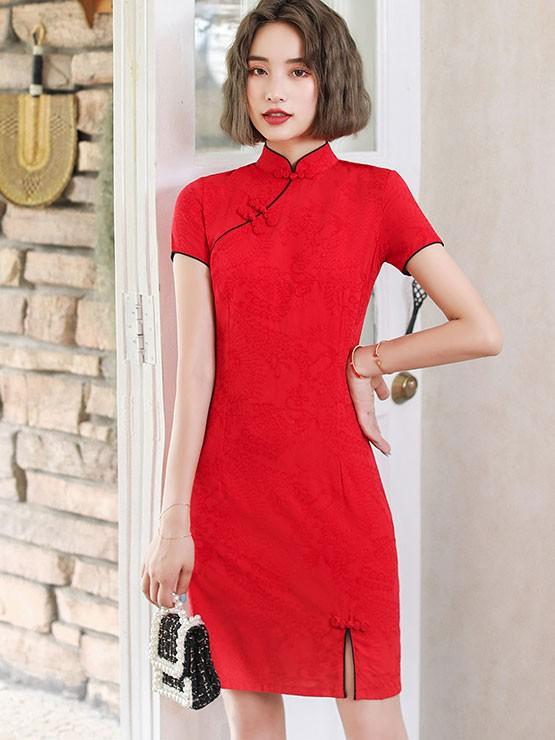 Green Red Printed Linen Qipao / Cheongsam Dress