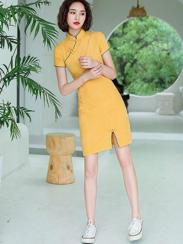 Yellow Printed Linen Qipao / Cheongsam Dress