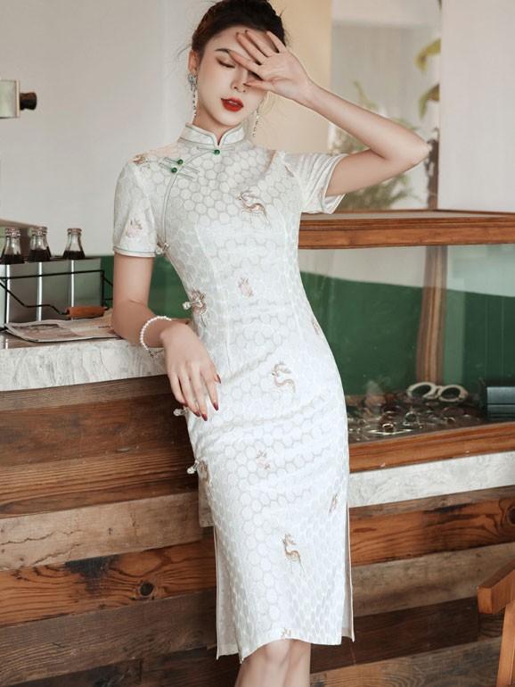 Green White Embroidered Deer Lace Qipao / Cheongsam Dress