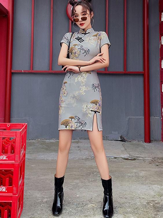 Gray Floral Modern Qipao / Cheongsam Dress