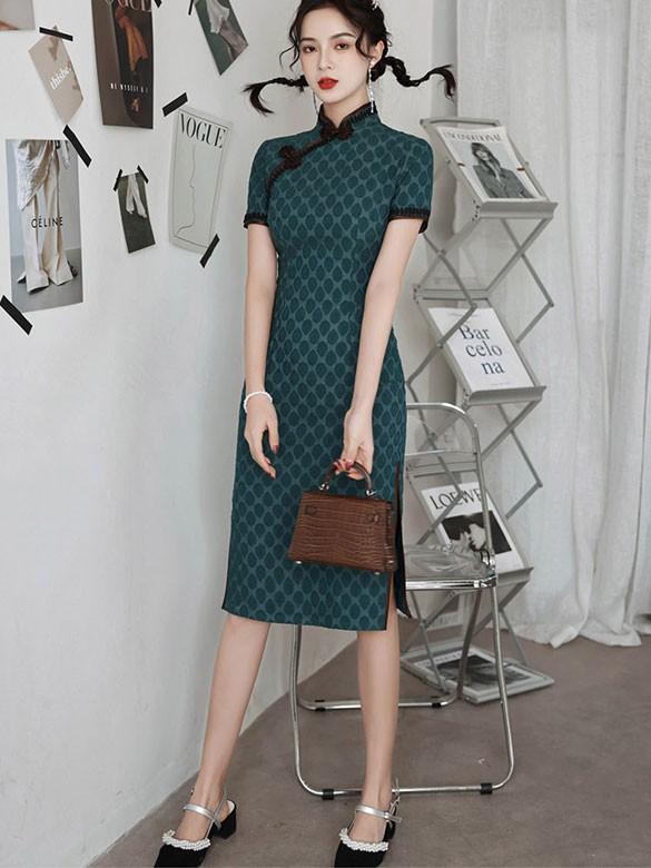 Green Dots Linen Midi Qipao / Cheongsam Dress