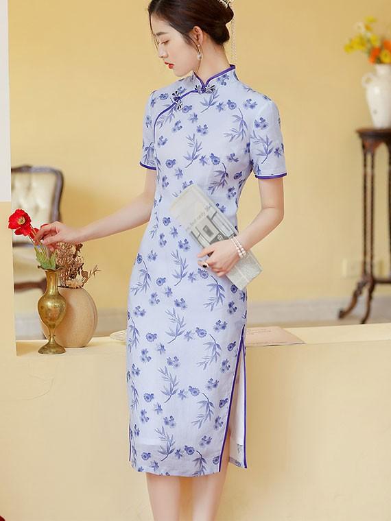 Blue Floral Linen Midi Qipao / Cheongsam Dress