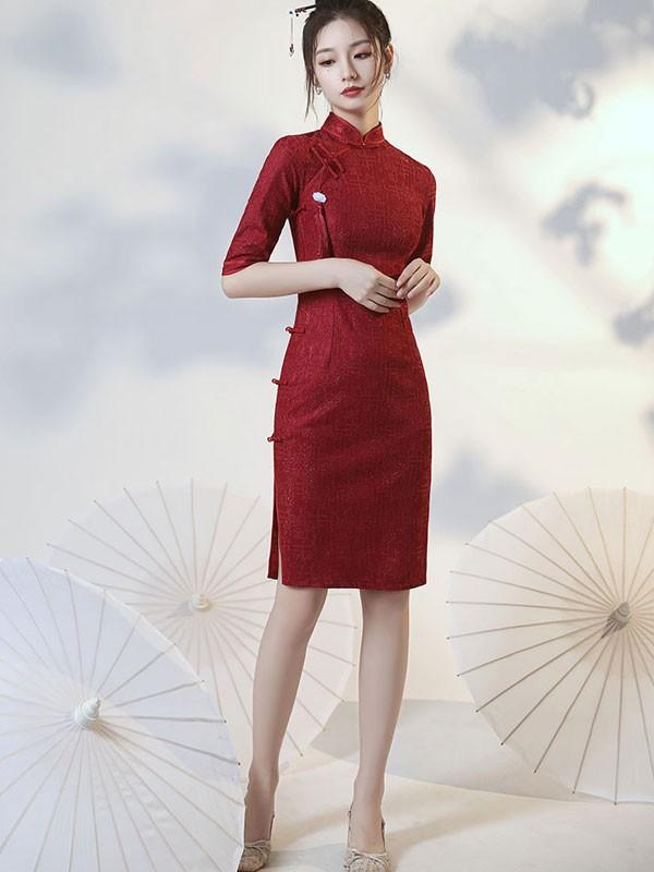 Burgundy Lace Midi Qipao / Cheongsam Dress