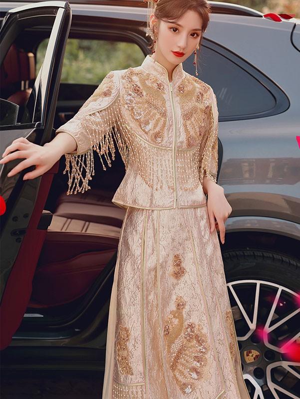 2021 Champagne Sequined Wedding Qun Kwa & Pleated Skirt