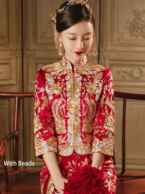 2021 Beaded Embroidered Dragon Phoenix Chinese Wedding Qun Kwa